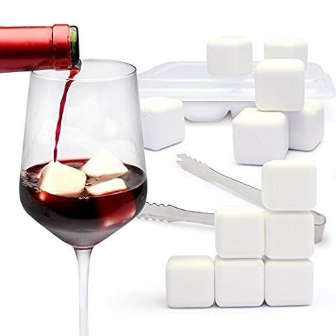 Yobansa 8pièces Cubes de refroidissement de refroidissement de pierres à whisky en céramique, pierre, Ice Cubs Ensemble