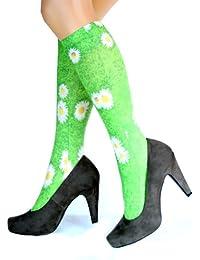 Hotlook Green Daisy Kniestrümpfe grün bedruckt Gänseblümchen Wiese