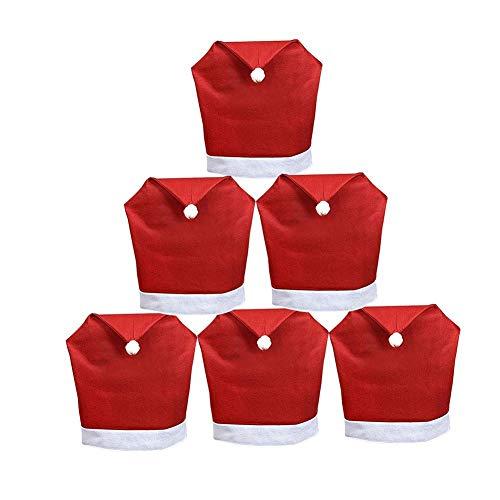 Sungpunet 1 Packung Weihnachten Santa Hut Stuhl Bedecken zurück lustig roten Hut Stil Stuhlabdeckung für Weihnachten Urlaub Festliche Dekoration