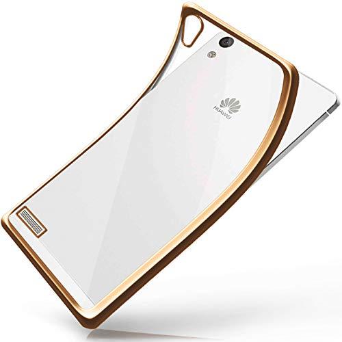 moex Huawei P6 | Hülle Silikon Transparent Gold Chrom Back-Cover Silikonhülle Dünn Schutzhülle Handyhülle für Huawei Ascend P6 Case Ultra-Slim Tasche TPU