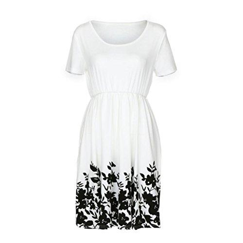 ITISME Elegant Damen Vintage Blumen Schmetterling Ausdrucken Casual Abend Party - Kleid Swing Kleid (S, Weiß) Vintage Le Creuset