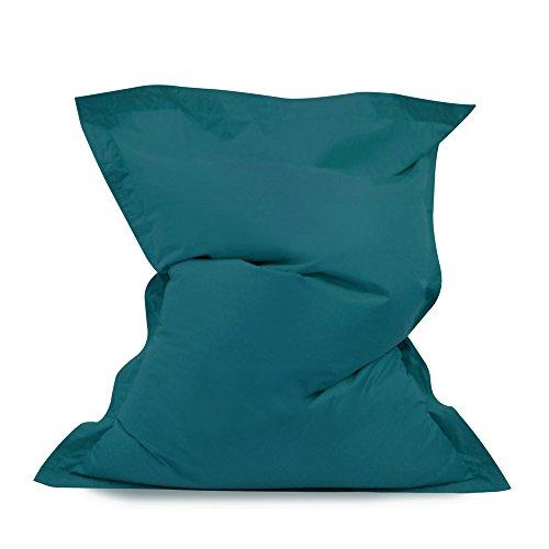 Puf gigante tipo desgarbado- Pufs para exteriores/interiores 100% impermeable (color verde azulado)