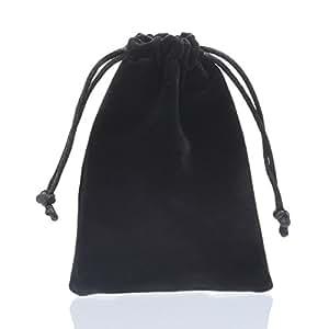 1 Sachet Pochette Bijoux Sac Cadeau a Cordon Velours Double-Face Flocage Noir 9x12cm
