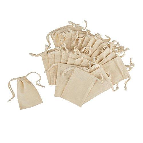 12Geschenk Tasche mit Kordelzug Baumwolle Musselin Taschen Schmuck Beutel wiederverwendbar Teebeutel für Hochzeit Party und DIY Craft 10x 15cm