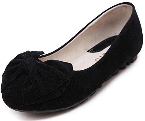 Minetom Femmes Chaussures Rond Les Orteils Peas Chaussons Semelle Souple Ballerines Plates Chaussures Solide Couleur