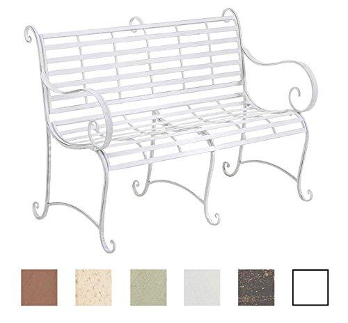 CLP Gartenbank ROY im Landhausstil, aus lackiertem Eisen, 129 x 69 cm - aus bis zu 6 Farben wählen Antik Weiß
