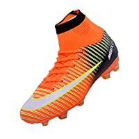 Sunny Holiday Football Boots Kids High Top Soccer Shoes Girls Unisex Professional Spike Teenagers Training Shoes Outdoor Sneakers Boots Boys 6.5 UK/40EU