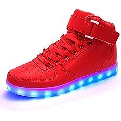 DoGeek Zapatos Led Niños Niñas 7 Color USB Carga Deportivas De Luces Zapatillas( mejor pedir una talla más) (40 EU, Rojo 2)