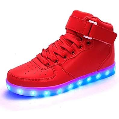 DoGeek Adulto Unisex Scarpe LED Luminosi Sneakers con Le Luci Accendono Scarpe Sportive (25 EU, Rosso)