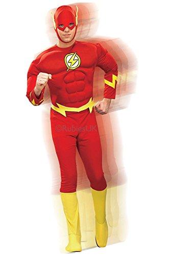 Flash Erwachsene Brust Muskel Kostüm Für - Rubies - Herren Deluxe The Flash Kostüm - Keine Angaben, XL - Brust 111-116cm
