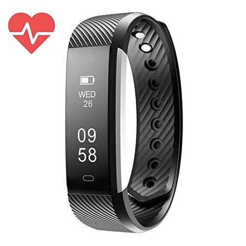 Fitness Tracker, FitX Activity Tracker, wasserdicht, mit Schrittzähler und Schlaf Monitor Kalorienzähler, Slim Smart Band für Kinder Damen Herren, schwarz (Microsoft-übung Band)