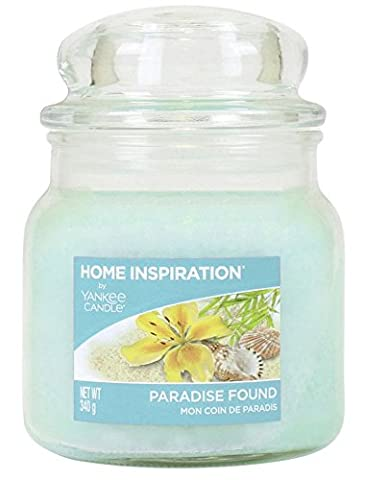 Home Inspiration Yankee Candle Bougie Parfum de Maison avec parfum relaxant de Island Florals–Bleu Bougie–Best Bougie parfumée–Bougie longue durée–Bougie en pot en verre élégante–340g