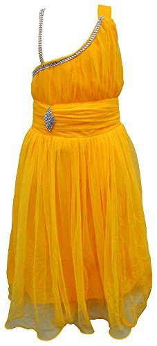 TINY TOON Party wear Baby Girls's Frock Dress (F145_8, Yellow, 8-9 Years)  available at amazon for Rs.399