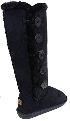 Funky Fourever da donna in pelliccia sintetica con cuciture piatte-Stivali al ginocchio Nero (nero)