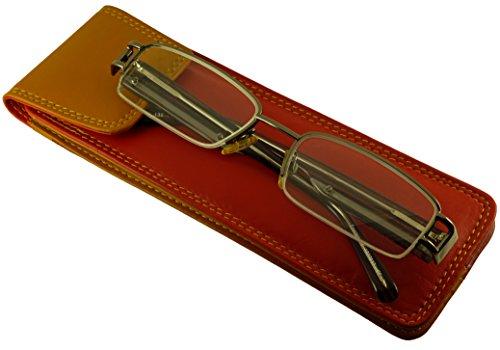 Porta occhiali da lettura pelle di qualità design sottile e allungato con chiusura linguetta Red/Yellow S