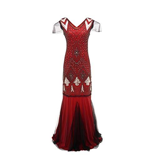 Damen Kleid Retro 1920s Stil Flapper Kleider voller Pailletten Runder Ausschnitt Great Gatsby Motto Party Kleider Damen Kostüm Kleid