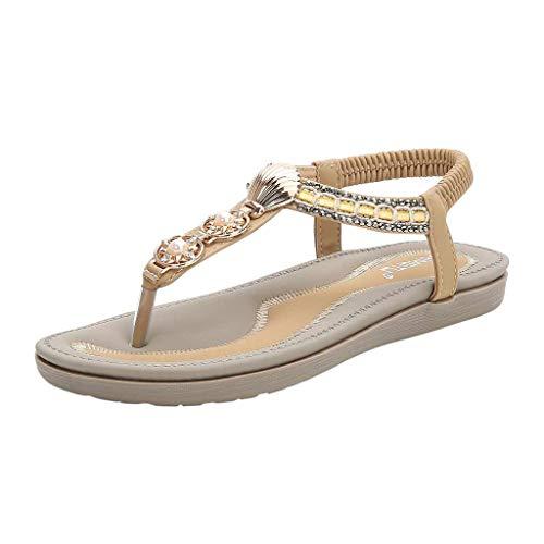 Sandalen Damen Sommer Flip Flops Sandaletten Bohemian Flach Zehentrenner Strandschuhe PU Leder Sandals mit Strass (EU:40, Beige)