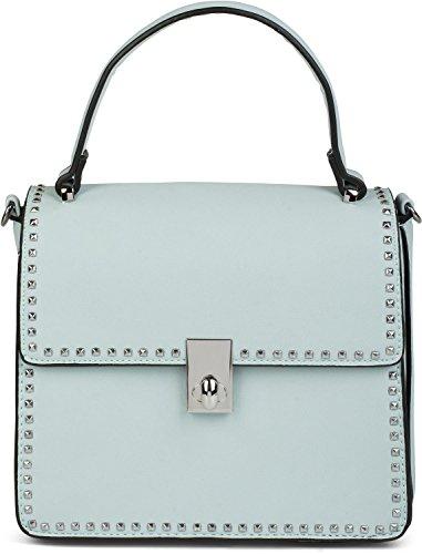styleBREAKER Satchel Henkeltasche mit Pyramiden Nieten, Handtasche, Tasche, Damen 02012216, Farbe:Hellblau