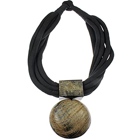 Natural buffalo horn tribal style oversized big round brown statement pendant black fabric choker necklace