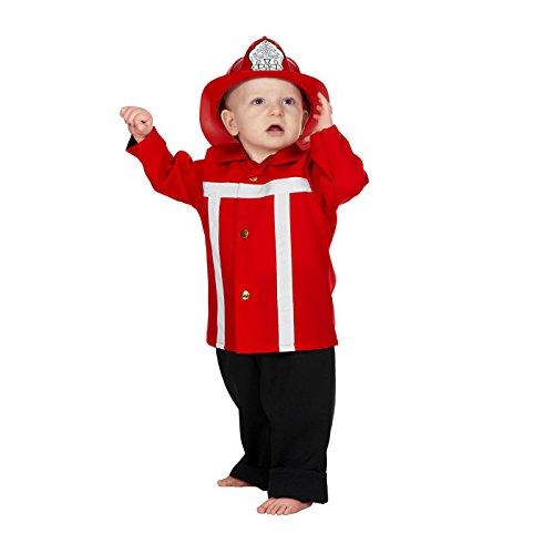 PARTY DISCOUNT NEU Kleinkind-Kostüm Feuerwehrmann, rot, Gr. 98