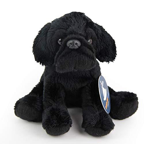 Entdeckerwelt Kleiner, sitzender, schwarzer Mops (H. ca. 11 cm) (Stofftier Schwarze Mops)