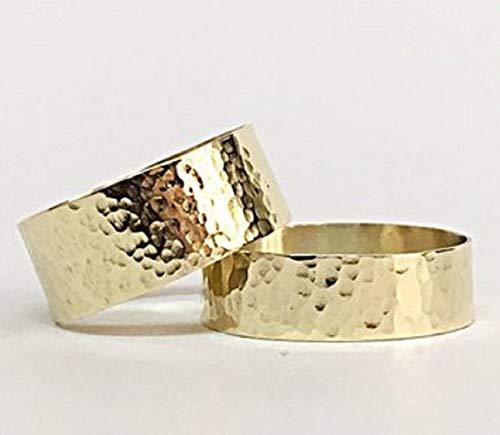 ehering gehaemmert FloweRainboW Breite Trauringe 585 Gold Gehämmert und Texturiert - Hochzeitsringe/Eheringe / Verlobungsringe - Damen/Männer