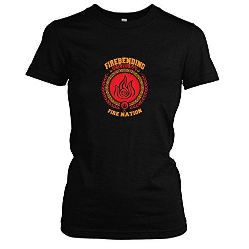 TEXLAB - Firebending University - Damen T-Shirt, Größe S, schwarz