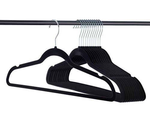 Home-it - 50unidades de Perchas de terciopelo para ropa, color negro, Ultrafinas, antideslizantes