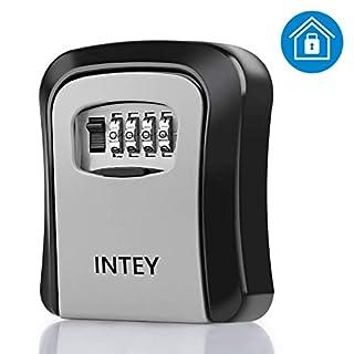 INTEY Schlüsseltresor 4-stelliger Schlüsseltresor mit Zahlencode Wetterfest Schlüsselkasten Wandmontage Schlüsselbox mit Zahlenkombination Schlüsselsafe für Schlüssel und Zugangskarte