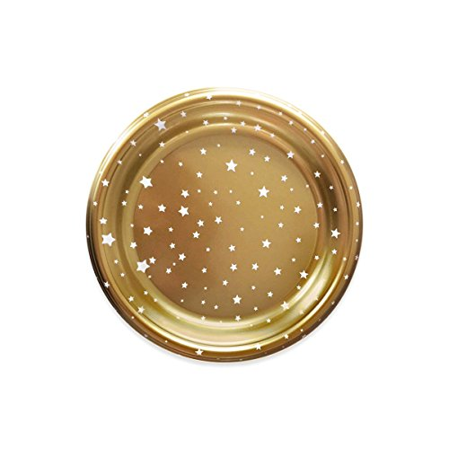 piatti di plastica decorati con disegno stelle - Colore Oro - Collezione di Natale - 23 cm - 4 unità