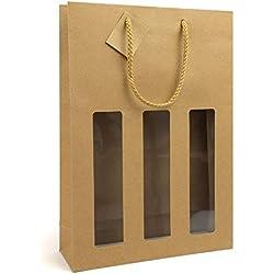 Lot de 10 sacs à bouteille pour 3 bouteilles de champagne/vin avec cordon textile et fenêtre, 100 x 90 x 385 m