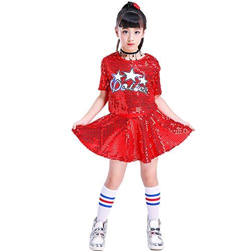 LOLANTA Mädchen Pailletten Jazz Dance Kostüm Glitter Cheerleader Uniformen Stage Dance ()