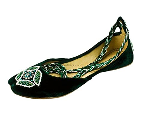 Womens Green Beaded Velvet Ankle Wrap Indian Leather Khussa Shoes Pump 4uk