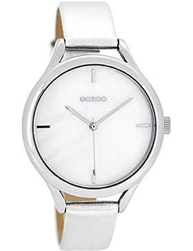 Oozoo Damenuhr mit Lederband 38 MM Perlmutt/Silber C8345