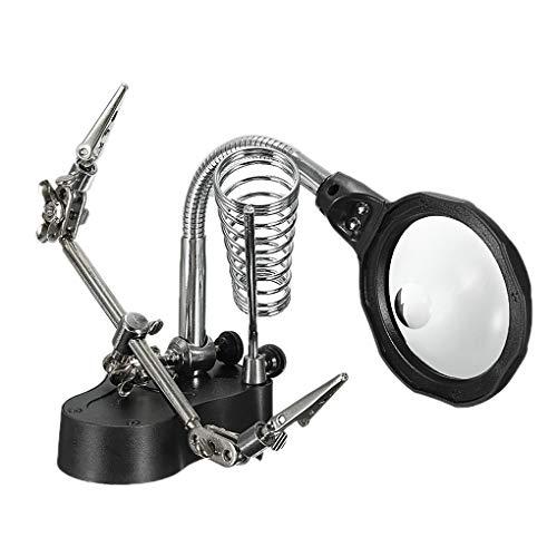 Preisvergleich Produktbild Lorsoul Multifunktions-Schweiß LED Lupe Lupe Abgreifklemme Loupe Desktop-Halter helfende Hand Löten Reparatur-Werkzeug