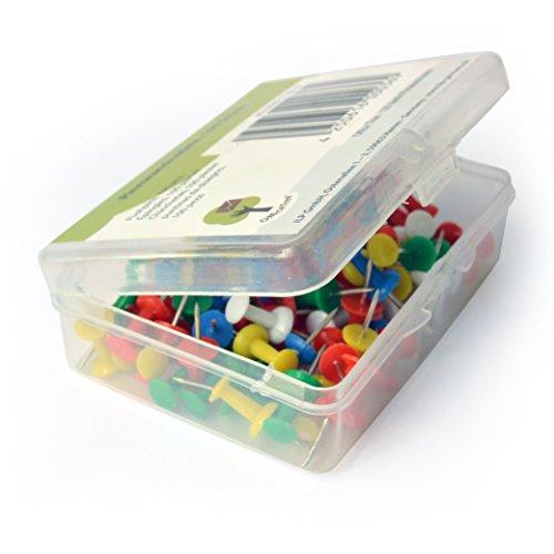 OfficeTree ® Chinchetas - 100 unidades en 5 colores - Chinchetas para mapas - Se acabó el caos en sus documentos - para una sujeción segura en mapas de corcho, fieltro y poliestireno - en un práctico estuche de almacenamiento