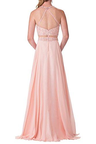 Victory Bridal Damen Abendkleider Lang Rotes Ballkleider mit Spitze Kleider Festlich 2017 Neu Rosa