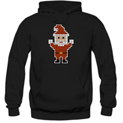 chtsmann Hoodie | Herren | Pixel | Santa Claus | Weihnachten | Christmas | Xmas | Weihnachtsfeier | Kapuzenpullover | HerrenHoodie, Farbe:Schwarz (Black F421);Größe:XXL (Minecraft Santa)