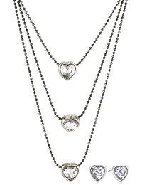 Pilgrim Damen-Schmuckset Valentine Halskette + Ohrringe Messing Kristall weiß 901413019