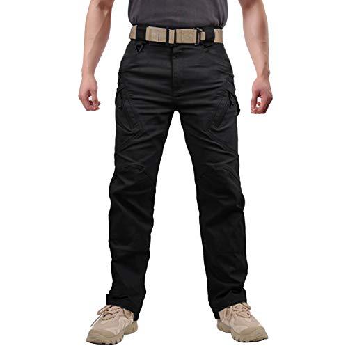Menargo Cargohose Herren Vintage Militär Tactical Hosen mit Stretch Arbeitshose Outdoor Viele Taschen Leichte Baumwolle(Schwarz XL)