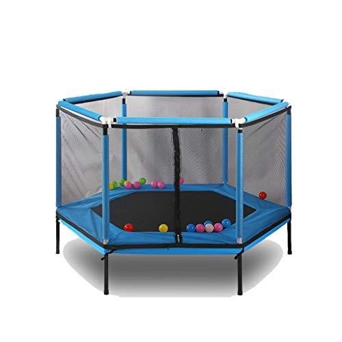 WZLDP Trampolines, Cama elástica Hexagonal para el hogar, con Red interactiva Entre Padres e Hijos, Juego Interactivo, Gimnasio Trampa para bebés, Cuidado de la Valla Cama para Saltar (Color : Blue)