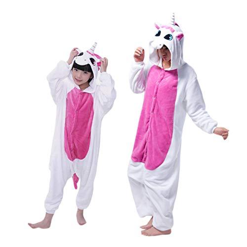 Overall Kind Kostüm - DEBAIJIA Kinder Einhorn Kostüme Flanell Jumpsuit Jungen Mädchen Tieranzüge Pyjama Overall Onesie Tierkostüme Rosa - 105