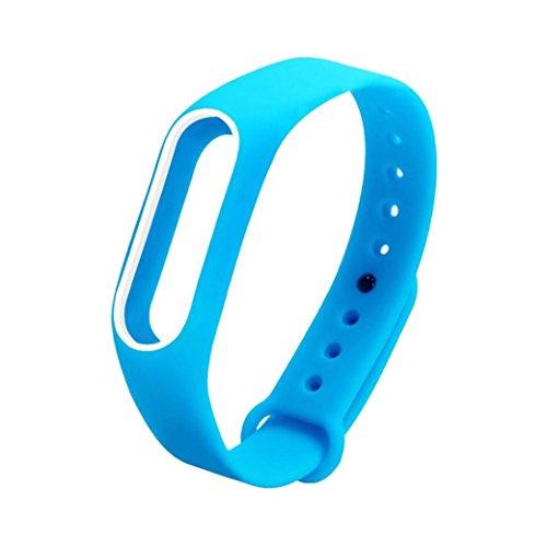 DAY.LIN Uhrenarmband Ersatz Kieselgel Armband Band Strap für Xiaomi Mi Band 2 Armband (Blau)