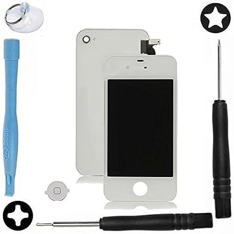 SPARFIX® - Kit Complet Vitre Tactile Écran LCD Retina+Vitre Arrière iPhone 4/4S Noir/Blanc