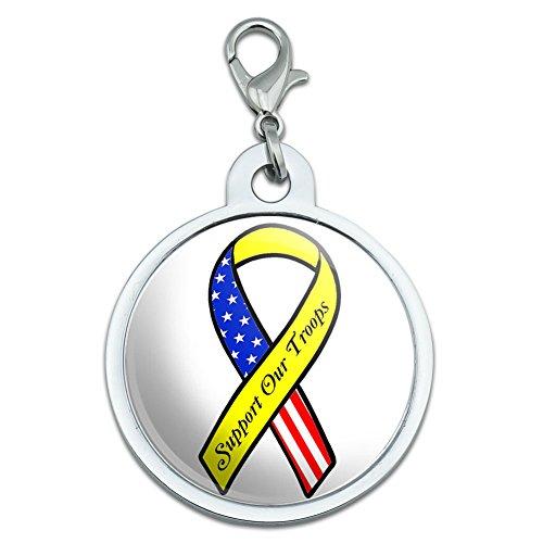 Unterstützen Unsere Truppen Band–Gelb und Flagge auf weiß groß verchromtem Metall Pet Dog Cat ID Tag (Truppen Dog Tag)
