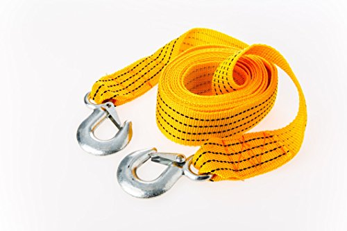 Arc Premier Tow Rope : An Extra Strong Towing Strap For Cars – Vehicle Pulling Belt With Safety Steel Hooks – Heavy Duty Thick Cord For Emergency Recovery – 4 Ton Capacity And 3.6 Meters Length In Yellow