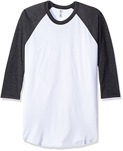 y-Cotton 3/4 Sleeve Raglan Shirt - White / Heather Black / M ()