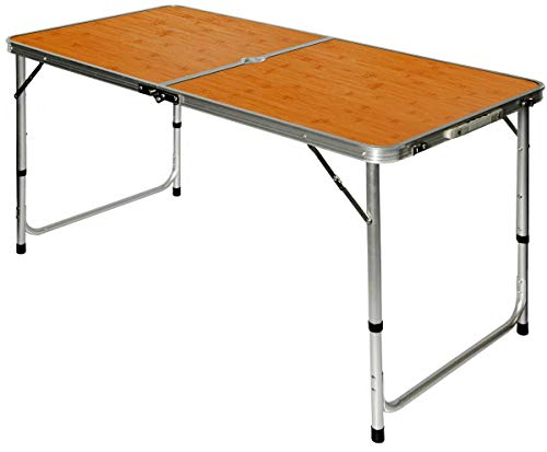 AMANKA Table de Camping Pique-Nique Pliable réglable en Hauteur 120x60x70cm en Aluminium Pliant Format Mallette Bambou