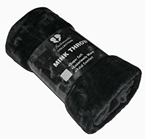 Mink Faux Fur Throw Black 150x200, Large 2 Seater Sofa / Bed Blanket by Intimates
