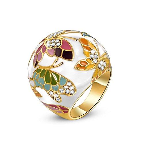 Kami idea regali san valentino donna anello primavera di versailles smalto a farfalla cristalli di preciosa placcato oro gioielli per natale compleanno anniversario mamma lei madre